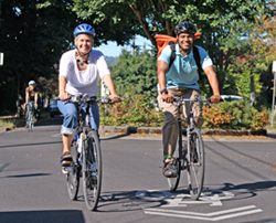 People on bikes on a neighborhood greenway