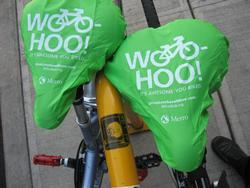 Bike saddle covers celebrate May, Bike Month.