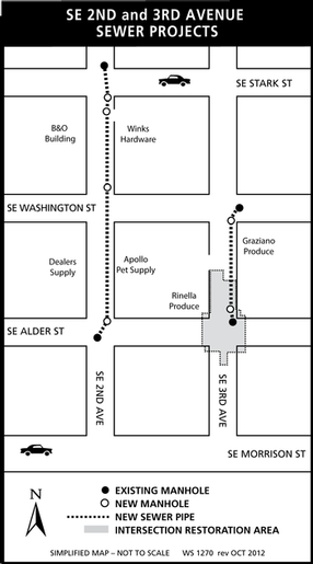 map of SE 2nd and 3rd sewer project
