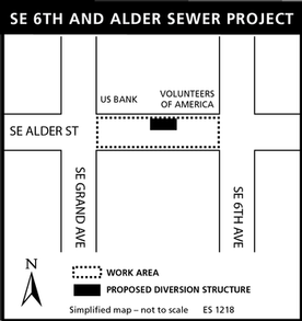 map of SE 6th and Alder sewer project