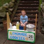 Kid sets up lemonade stand at the bottom steps of his house