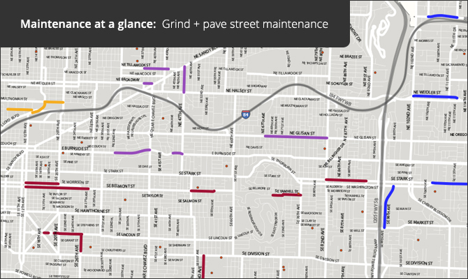 Maintenance at a glance: Grind + pave planned street maintenance