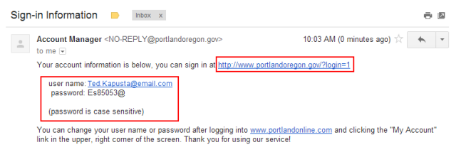 email to retrieve password