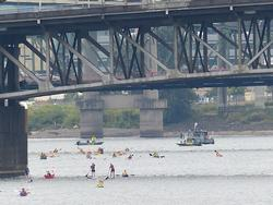 bridge swimmers and support boats