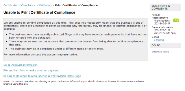 Unable to confirm compliance image