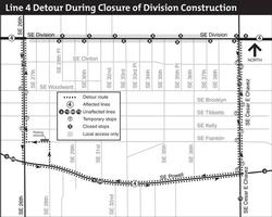 map of TriMet line 4 detours