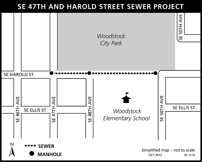 SE 47th and Harold Sewer Project map