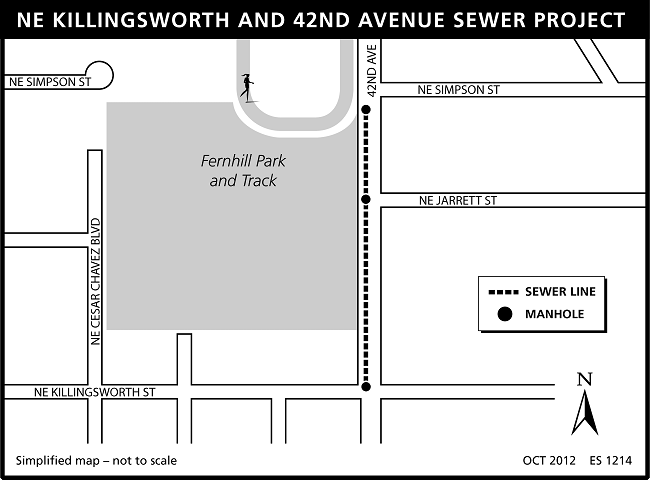 NE Killingsworth and 42nd sewer project map