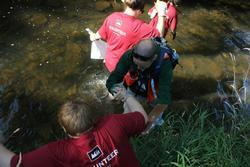 volunteers in creek