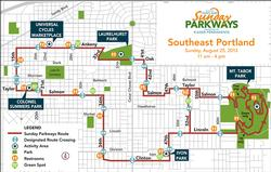 map of SE Sunday Parkways route 8-25-13