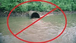 sewer pipe in river