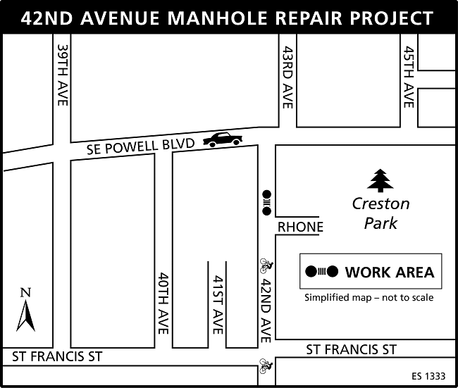 42nd Avenue Manhole Project map