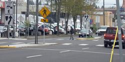 Crosswalk and Pedestrian Island on Sandy Blvd.