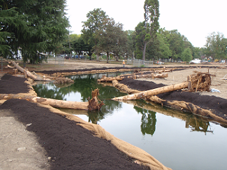 Westmoreland Park during construction