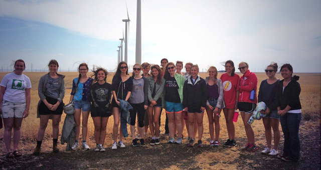 Students on a wind farm