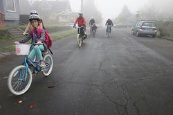 Families riding in Portland Winter