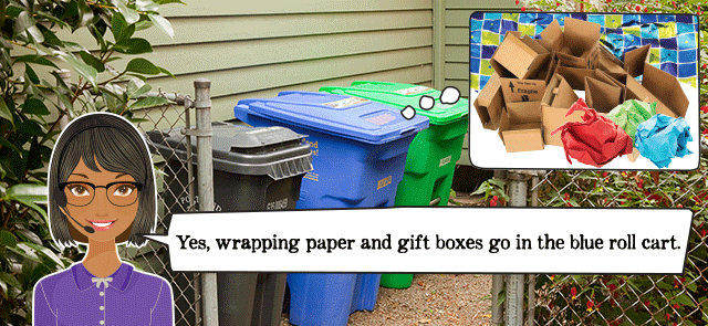 Wrapping paper and gift boxes go in with recycling