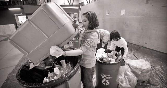 Students conducting a waste sort