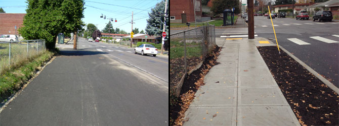 prescott sidewalk before and after
