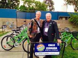 Rex Burkholder and friend at Lima Ciclovia event