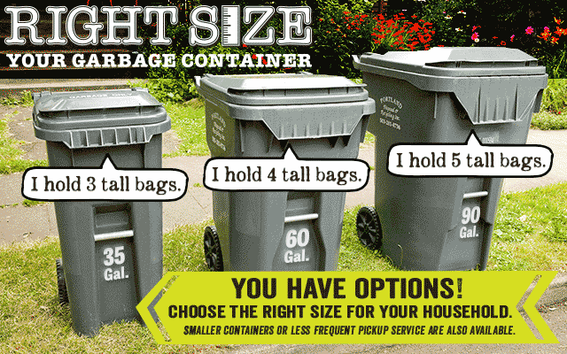 35, 60 and 90 gallon garbage containers