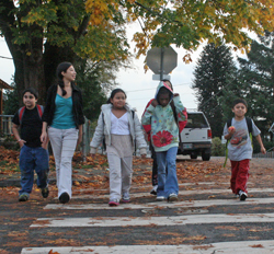 Walking with kids to school