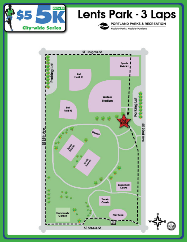 Lents Park Course Map