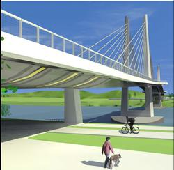 Drawing of Tilikum Crossing with biker and walker