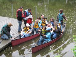 Community canoe trip on the Slough