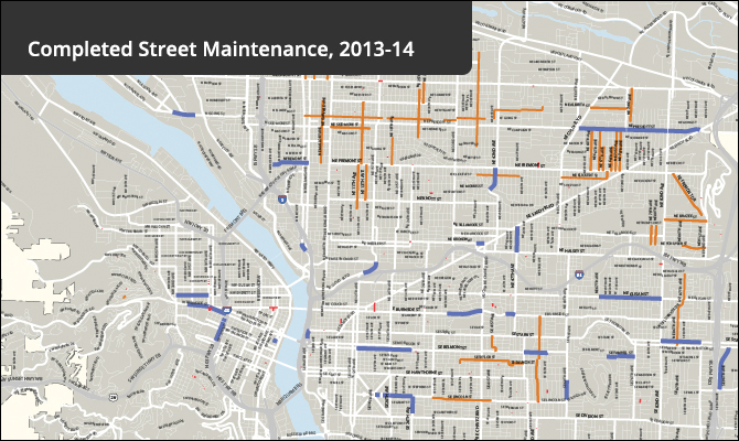 Back to Basics goal exceeded: 103 miles of streets preserved ... Street Map Of Portland on