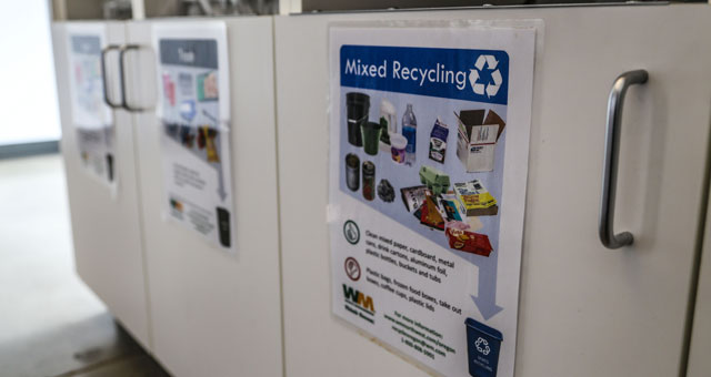 Recycling bins labeled with images