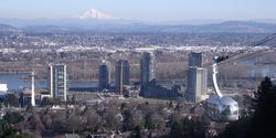 view of Mt Hood and Portland Tram