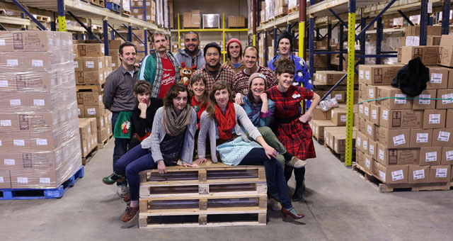 Staff celebrating the holidays in the warehouse