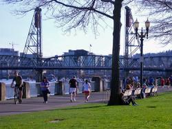 People biking, walking and jogging on the Waterfront