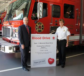 Jeff Allen, CEO of the American Red Cross Pacific Northwest Blood Services Region and PF&R Chief Erin Janssens invite you to donate