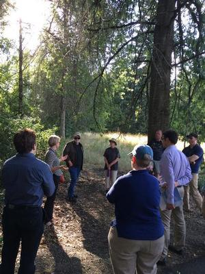 Marie Walkiewicz of the BES Johnson Creek Watershed Team, explains the Foster Floodplain Restoration Project