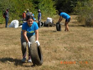 volunteers remove tires