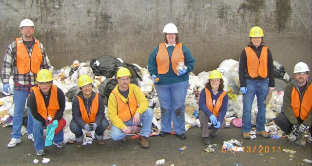 Employee's participating in a waste sort