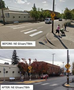 Before/after comparison of NE Glisan at 78th Ave