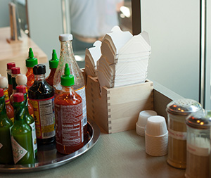 To-go containers on a counter