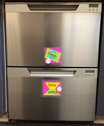 """Clean"" and ""Dirty"" signs on dishwashers"