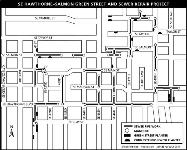 SE Hawthorne-Salmon simplified map