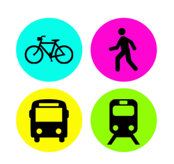 Bike, Walk, Bus and Train logo