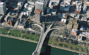 Aerial view of the Morrison bridgehead