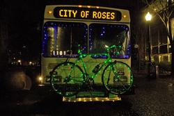 A bus lit for the holidays