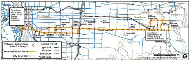 Map of proposed Bus rapid transit line