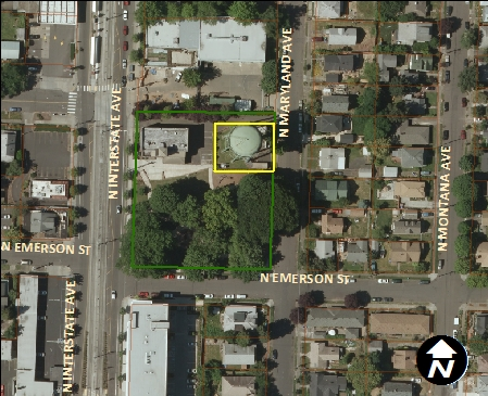 Patton Tank - aerial view (5335 N Maryland Ave.)