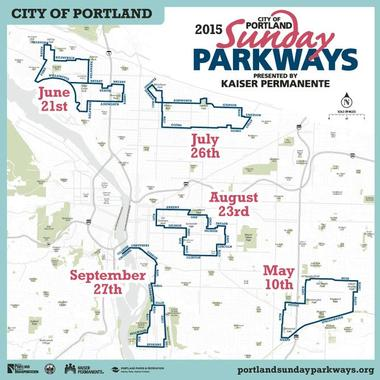 Map of 2015 Sunday Parkways routes