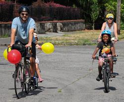 People on bikes enjoying Sunday Parkways