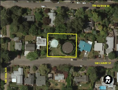 Canby Tank - aerial view (1737 SW Canby St.)